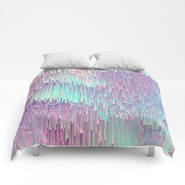 Iridescent Glitches Comforters