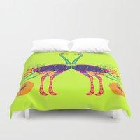 ostrich Duvet Covers featuring Decorated ostrich by Design4u Studio