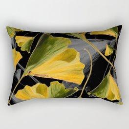 Yellow Ginkgo Leaves on Black Rectangular Pillow