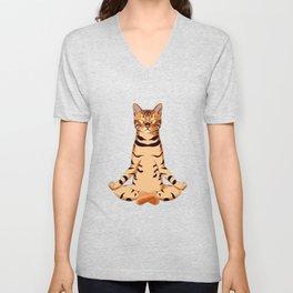 Yoga Bengal Cat  Unisex V-Neck