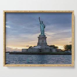 Statue of Liberty in New York at sunset Serving Tray