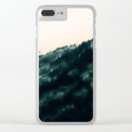 Watercolour Green Fog Forrest Clear iPhone Case