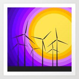 Windmills - Sunset Art Print