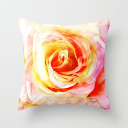 Pink and Yellow Rose Flower Throw Pillow