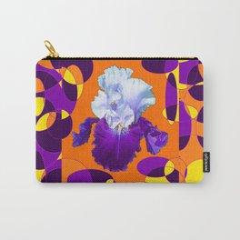 Colorful Moden Purple White Iris Orange Yellow Black Design Carry-All Pouch