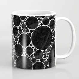 Modern Black and WHITE Textured Bubble Design Coffee Mug