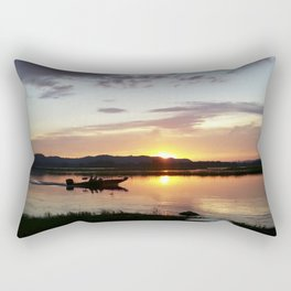 Sunset Fisherman Rectangular Pillow