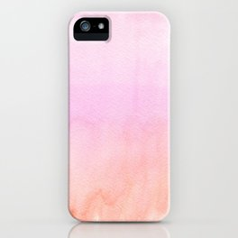 Abstract blush pink coral orange watercolor ombre iPhone Case