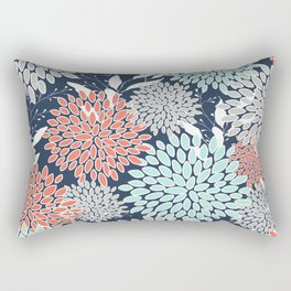 Floral Prints and Leaves, Navy, Aqua Coral and Gray Rectangular Pillow