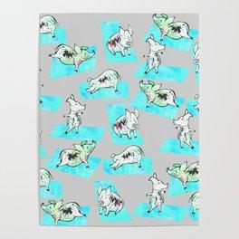 Aqua Yoga Pigs - Downward Facing Hog Poster