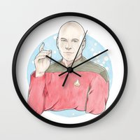 picard Wall Clocks featuring Captain Jean-Luc Picard of the Starship Enterprise by A Rose Cast
