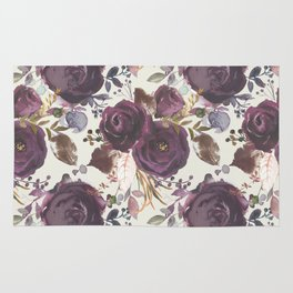 Pastel burgundy violet pink watercolor roses floral Rug