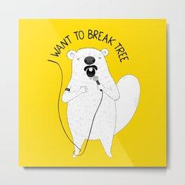 Beaver singing Queen | Animal Karaoke | Illustration Metal Print