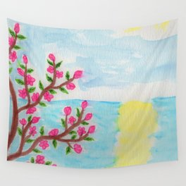 Cherry Tree Ocean View Wall Tapestry
