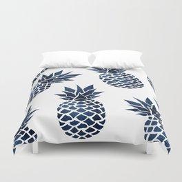 Pineapple Blue Denim Duvet Cover
