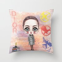 jennifer lawrence Throw Pillows featuring Jennifer Lawrence by Joana Pereira