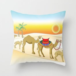 Exodus, Camels in the Desert, Passover Throw Pillow