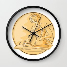 Homemaker Ironing Clothes Vintage Etching Wall Clock