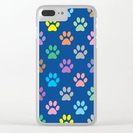 Colorful paw prints pattern Clear iPhone Case