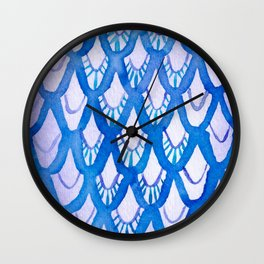 Purple and Blue Watercolor Scales! Wall Clock