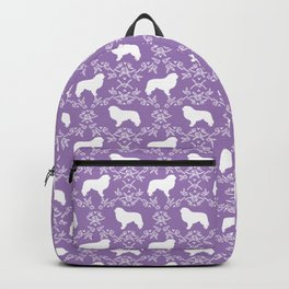 Great Pyrenees dog breed silhouette floral dog pattern unique pet gifts Backpack