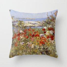 Celia Thaxter's Garden, Isles of Shoals, Maine - Childe Hassam Throw Pillow