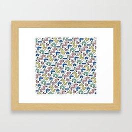 80s - 90s KEITH HARING STYLE SQUIGGLE PATTERN Framed Art Print