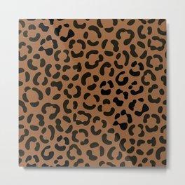 Trendy Black on Tan Leopard Print Pattern Metal Print