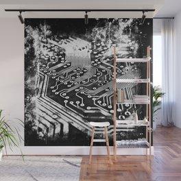 platine board conductor tracks splatter watercolor black white Wall Mural