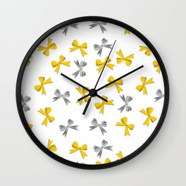 Yellow bow Wall Clock