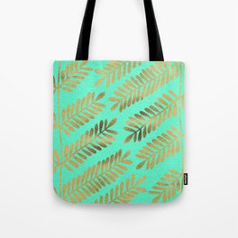 Leaflets – Turquoise & Gold Tote Bag