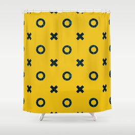 X + O Mustard and Antique Blue Hand Drawn Pattern Shower Curtain