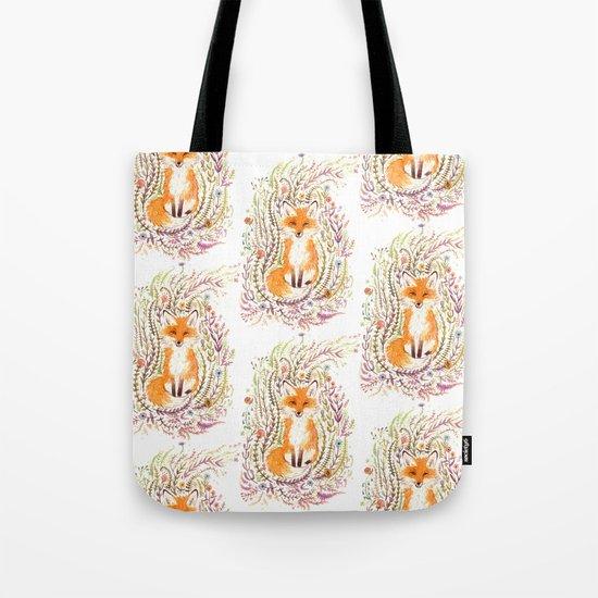 Fox and Flowers II Tote Bag