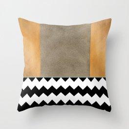 Shiny Copper Coffee Glaze And Black And White Chevron Pattern Throw Pillow