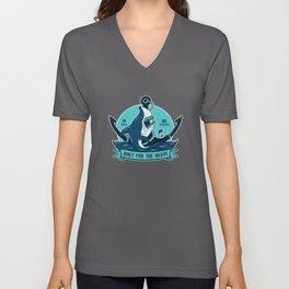 Shark With Anchor Motif Unisex V-Neck