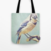 virginia Tote Bags featuring Virginia Bluejay by Beth Thompson