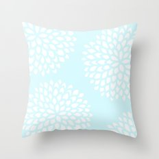 Aqua Blossoms Throw Pillow