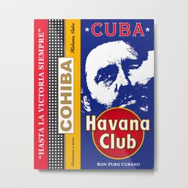 Cuba Rhum Castro Cohiba Vintage Travel Print Poster Decoration Metal Print