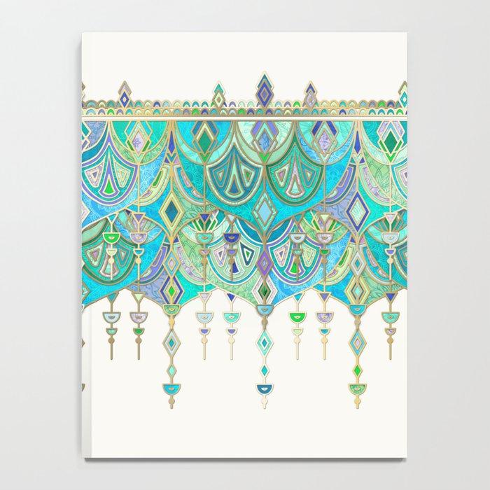 Art Deco Double Drop in Jade and Aquamarine on Cream Notebook