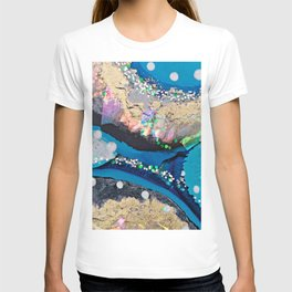 Blue and Gold Ocean Inspired Geode Abstract Art T-shirt