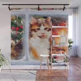 Christmas Kitten Wall Mural