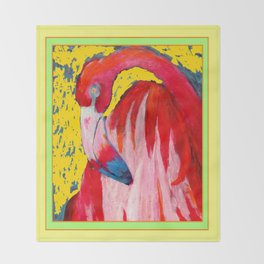 Modern Yellow Art  Flamingo Preening Design Throw Blanket