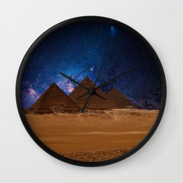Great Giza Egyptian Pyramids of Menkaure, Khafre and Khufu under Stars Wall Clock