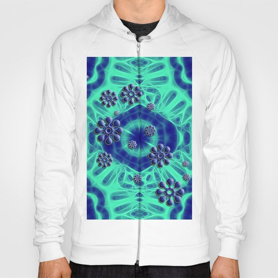 Popping flowers in trippy blue Hoody