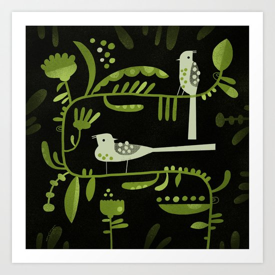 GREEN ON BLACK WITH BIRDS Art Print