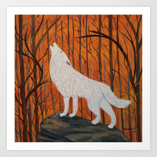 white wolf in the sunset Art Print