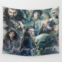 smaug Wall Tapestries featuring the hobbit,the last goodbye,martin freeman,an unexpected journey,the desolation of smaug,the battle  by ira gora