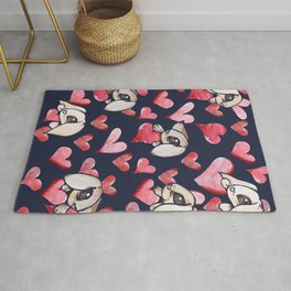 Lops of Love Rabbit Hearts Rug