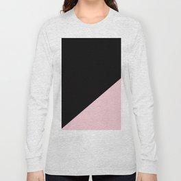 Black & Soft Pink - oblique Long Sleeve T-shirt