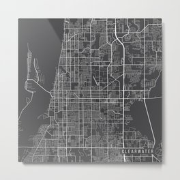 Clearwater Map, USA - Gray Metal Print